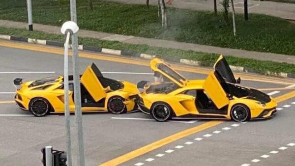 Un Lamborghini Aventador amarillo se estrella contra… otro Lamborghini Aventador amarillo